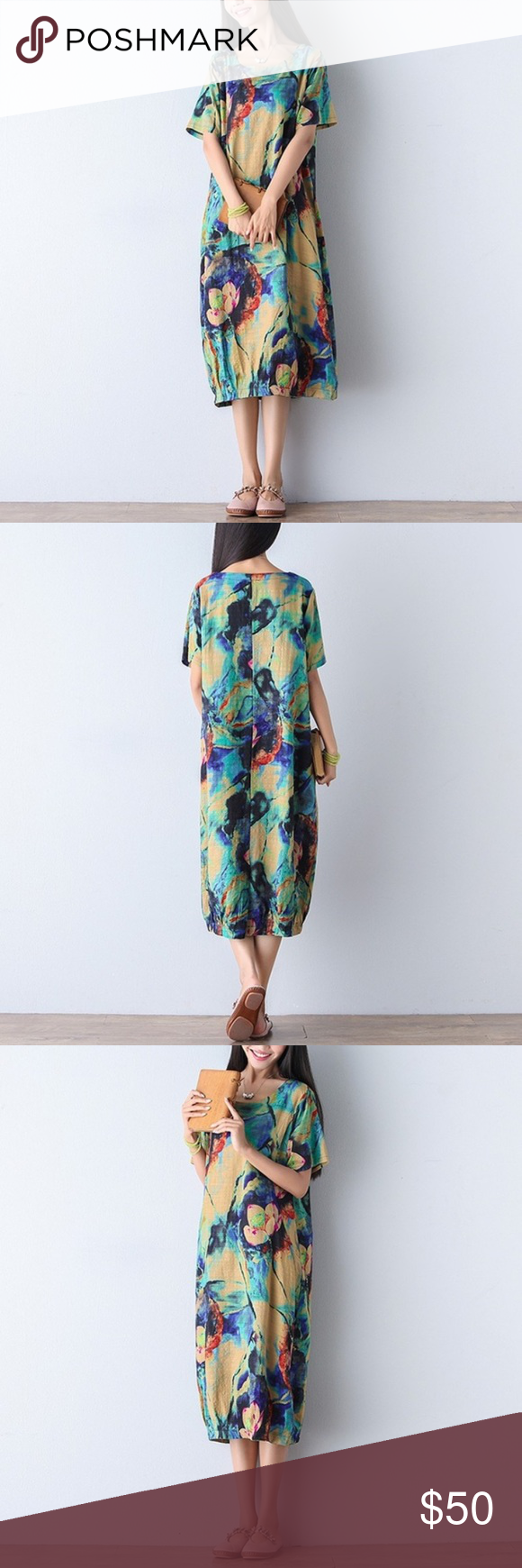 Plus Size Floral Oversized Linen Dress Brand new! Never worn.  This is meant to …