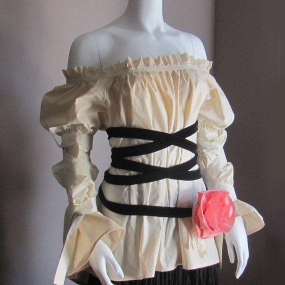 Plus Size Peasant Renaissance Steampunk Blouse. Victorian Clothes. Fairy Blouse….