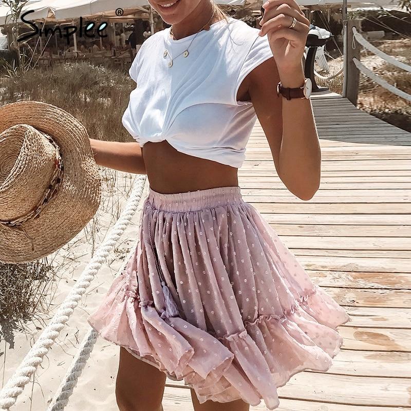 Polka Dot High Waist A-line Mini Skirt