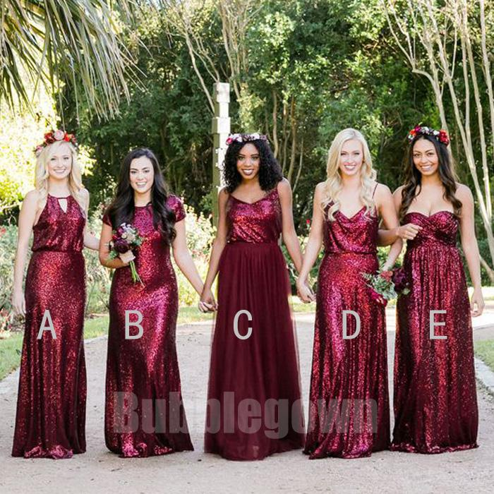 Popular Elegant Mismatched Sequin Tulle Long Wedding Party Bridesmaid Dresses, B…