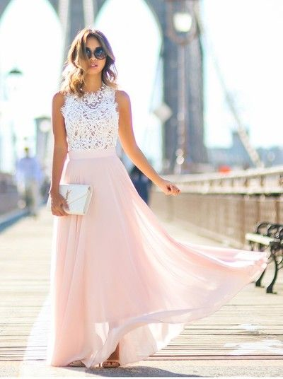 Princess Long Pink Chiffon Prom Dress with White Lace Top,XP143 from Now and Forever