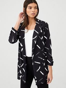 Printed Longline Jersey Crepe Blazer – Mono