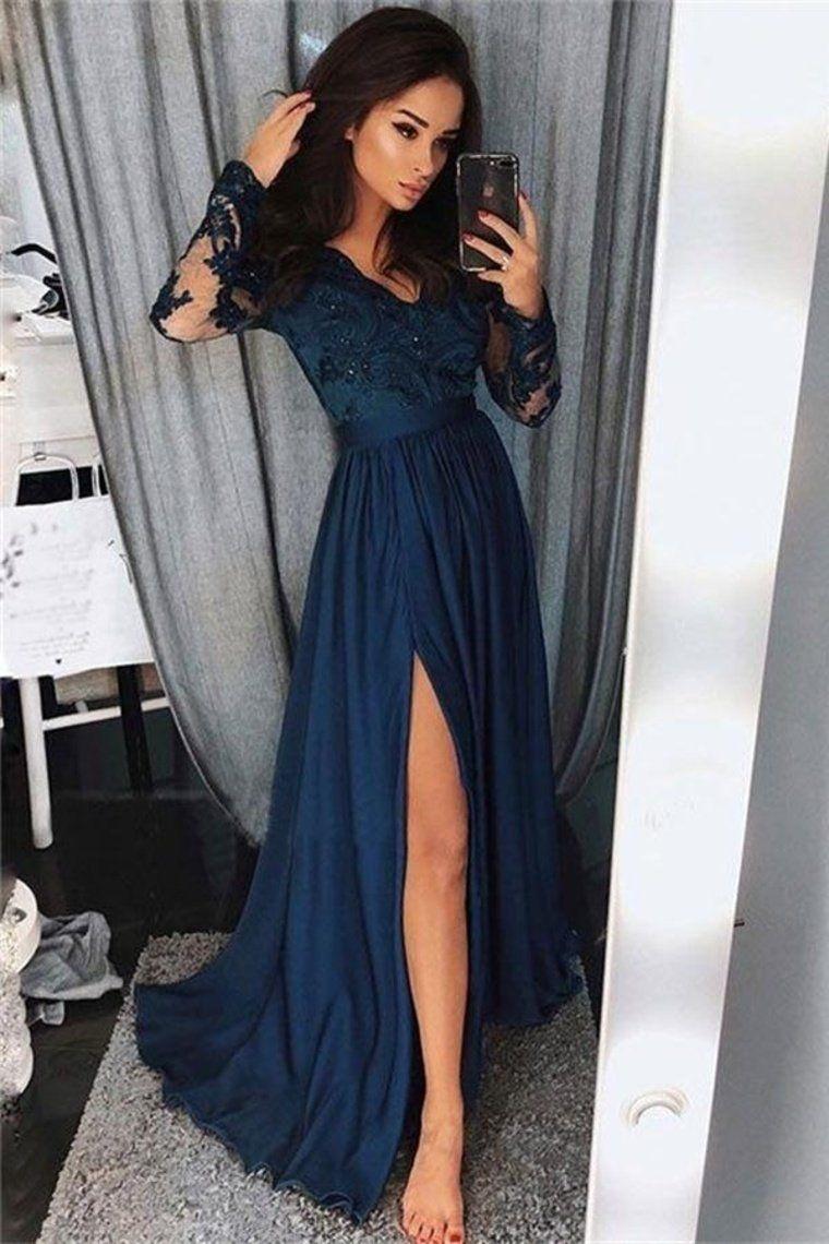 Prom Dress Beautiful, Pretty Long Sleevesl Navy Blue Lace Front Split Prom Dresses Women Dresses
