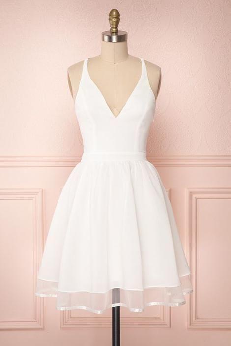 Prom Dresses Split, White Homecoming Dress,Short Party Dress HoCo Bridal