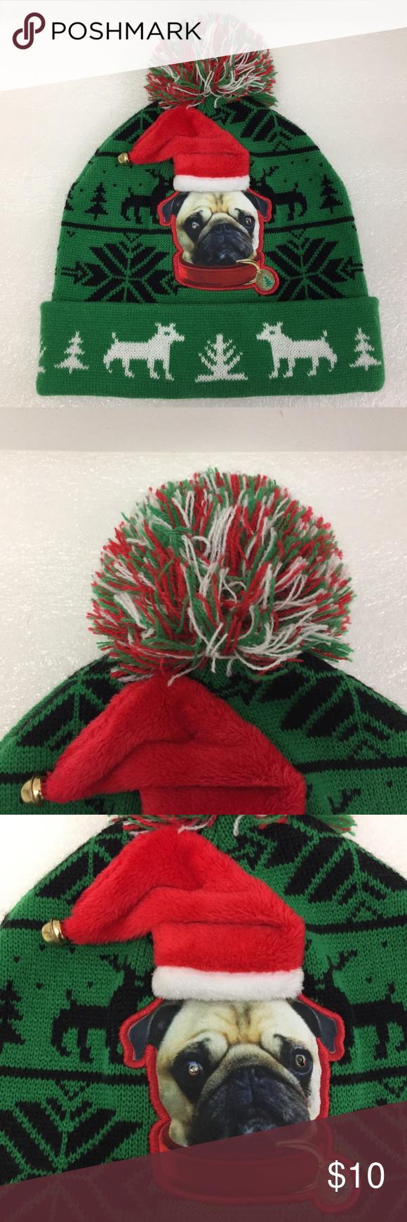 Pug Winter Hat Pom Pom Beanie Christmas Xmas Cap Pre-owned  PLEASE NOTE:  The li…