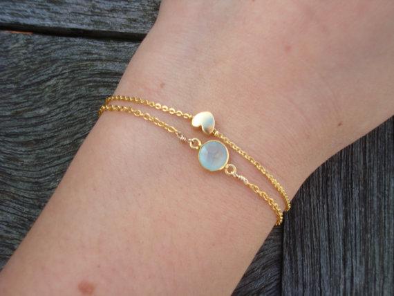 Pulsera de encanto de corazón de oro – pulsera de oro Dainty