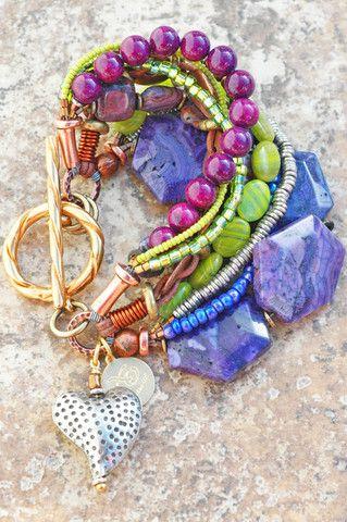 Purple, Green and Copper Artisan Mixed Media Boho Heart Charm Bracelet