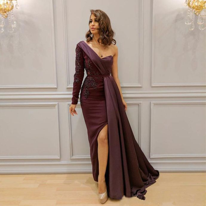 Purple One Shoulder Sheath Prom Dresses 2019 Hot Selling Custom Made Applique Sash Sexy Side Split Special Occasion Evening Party Gowns