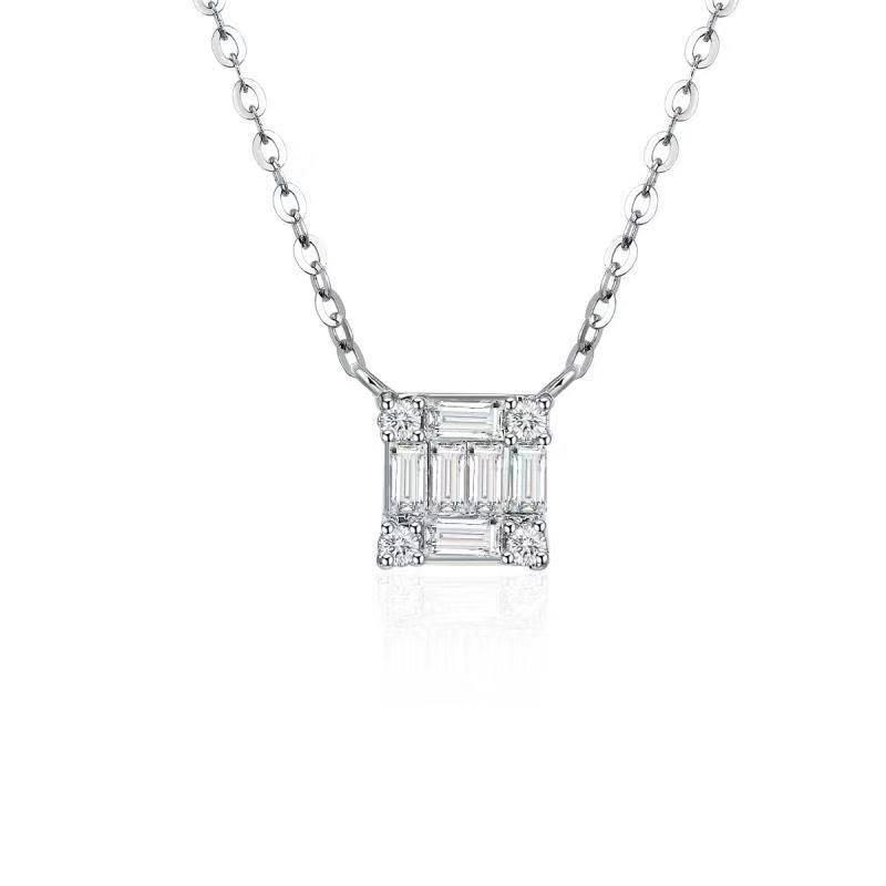 REEMARK™ 18k White Gold Baguette Diamond Square Pendant (1/10 cttw, I-J Color, I1-I2 Clarity)