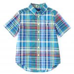 Ralph Lauren Childrenswear Big Boys 8-20 Short Sleeve Plaid Shirt - Blue/Yellow Multi L