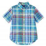 Ralph Lauren Childrenswear Big Boys 8-20 Short Sleeve Plaid Shirt - Blue/Yellow Multi L