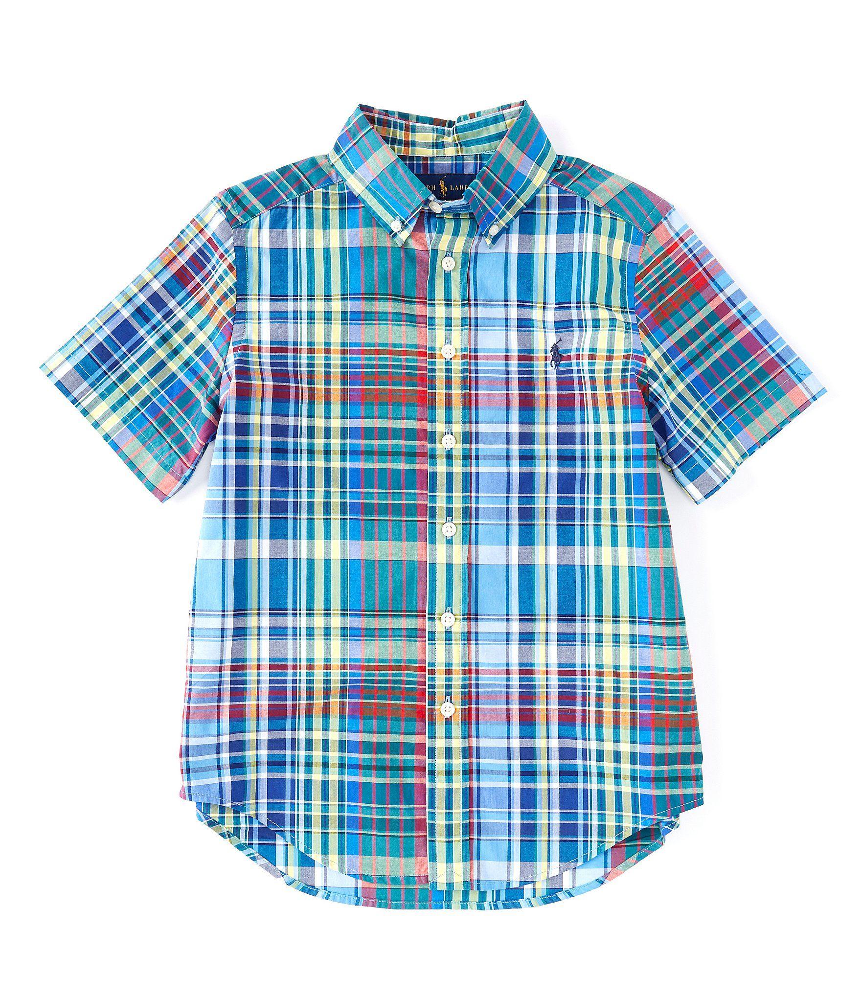 Ralph Lauren Childrenswear Big Boys 8-20 Short Sleeve Plaid Shirt – Blue/Yellow Multi L