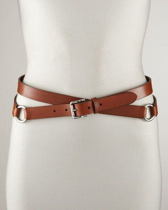 Ralph Lauren Double-Wrap Leather Belt, Tan