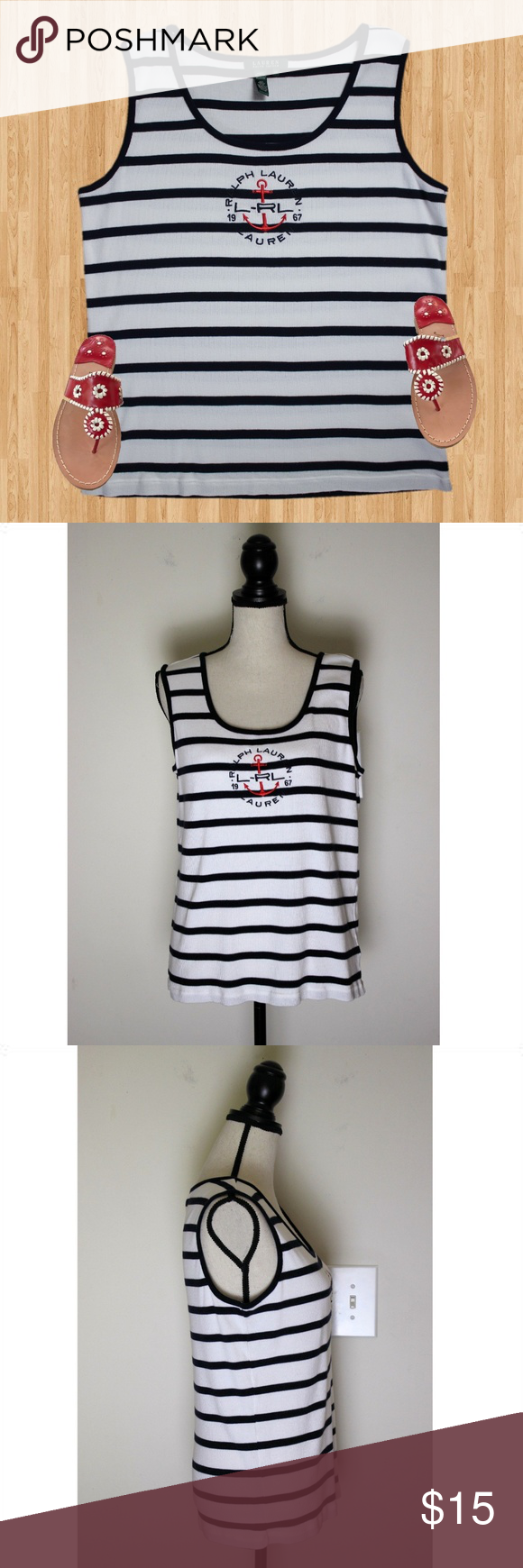 Ralph Lauren Striped Anchor Logo Tank Top Size 2X This top is perfect for summer…