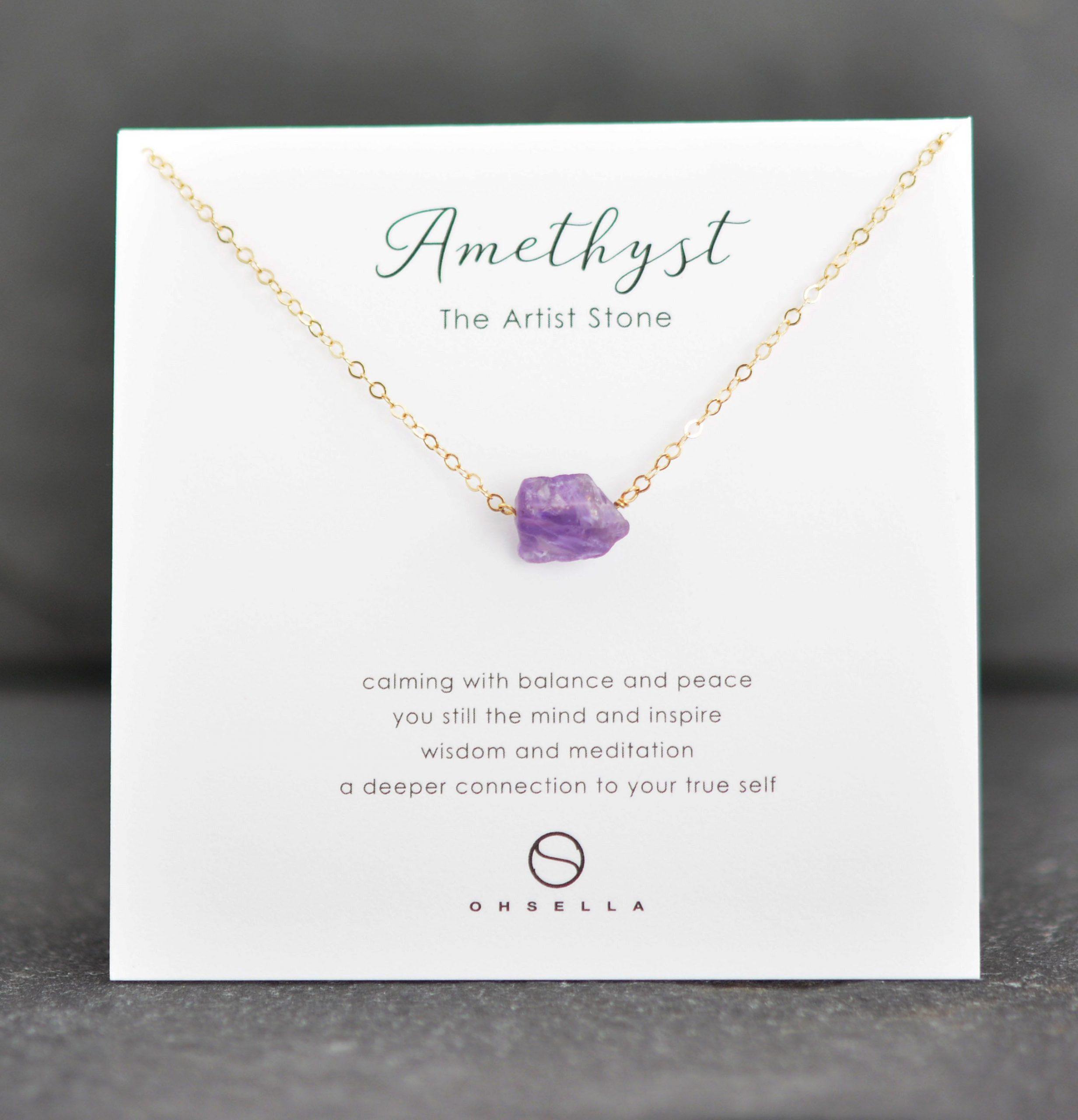Raw Amethyst Necklace, Crystal Necklace, Rough Crystal Necklace, Bridesmaid Gift, Raw Purple Amethyst, February Birthstone (0501N-AM)