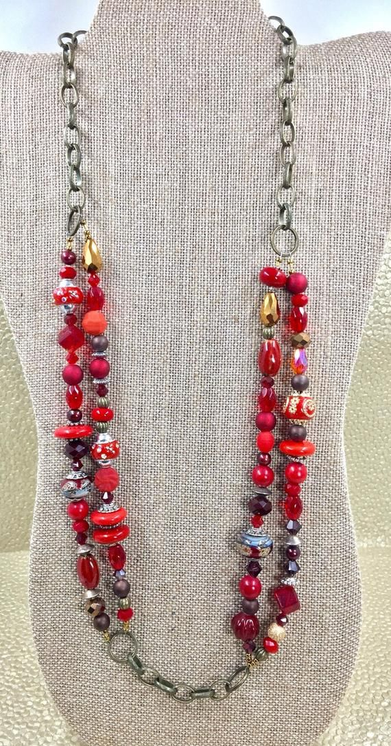 Red Bead and Chain Necklace, Womens Necklace, Jewelry, Bronze Chain Multistrand Necklace, Chilie Pepper Red Necklace, Red Valentine Necklace