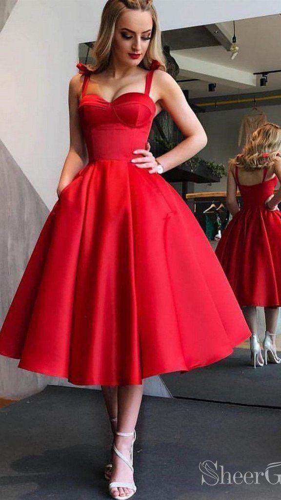 Red Cute Tea Length Graduation Dress Elegant Midi Prom Dresses ARD2087