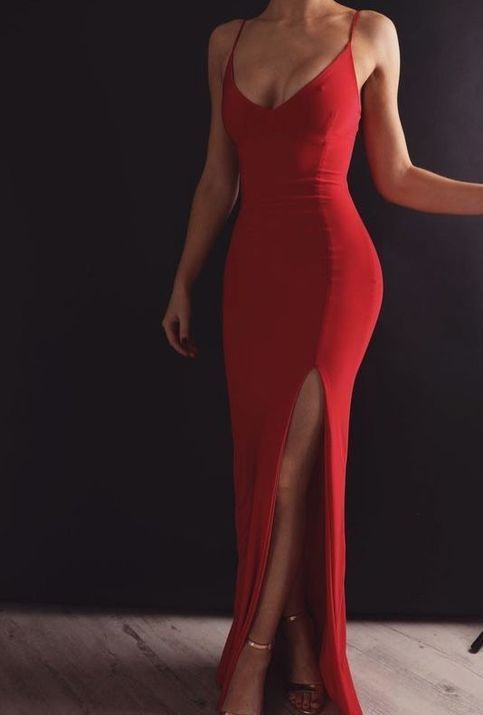 Red Long Prom Dress,Sexy Evening Dress With Split, Strapless Party Dress