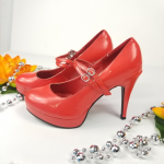 Red platform heels whit double strap size 7/8 M Red platform heels  whit double ...