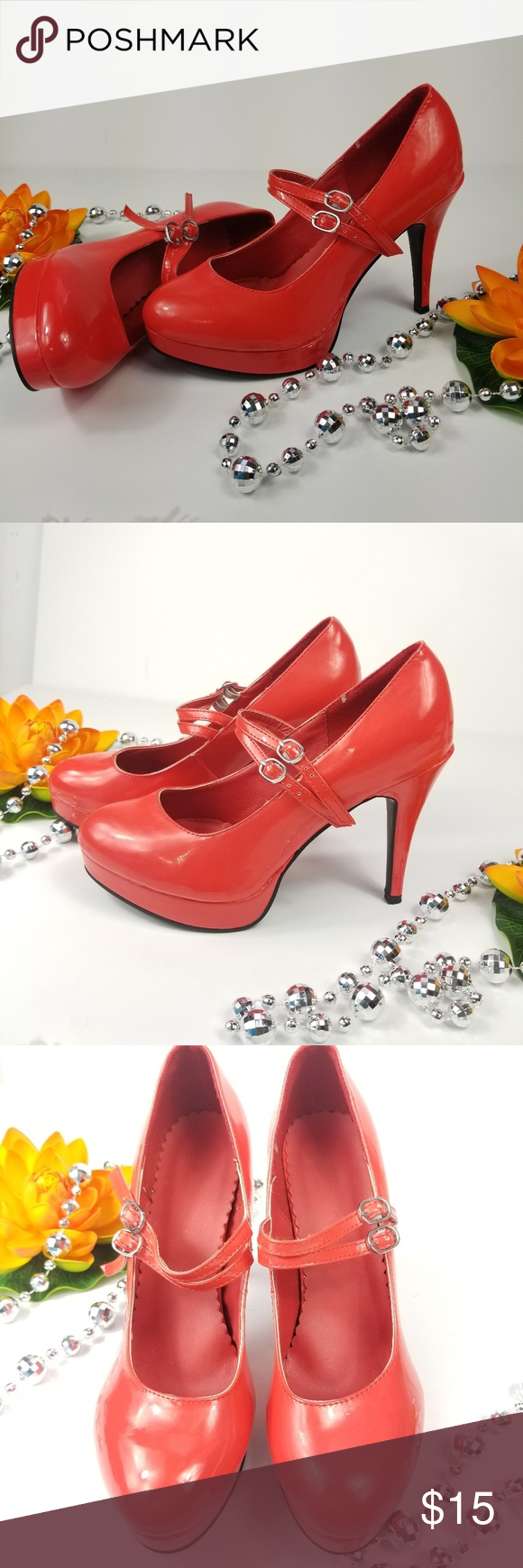 Red platform heels whit double strap size 7/8 M Red platform heels  whit double …