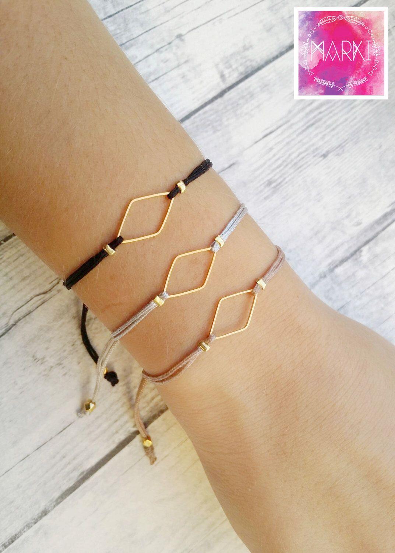 Rhombus charm bracelet, friendship bracelet, macrame bracelet, minimal bracelet, geometric, gold, br