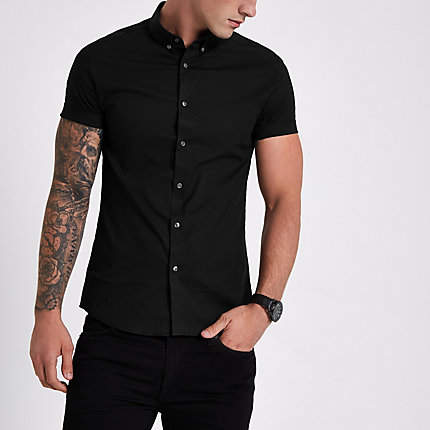 River Island Black muscle fit short sleeve shirt