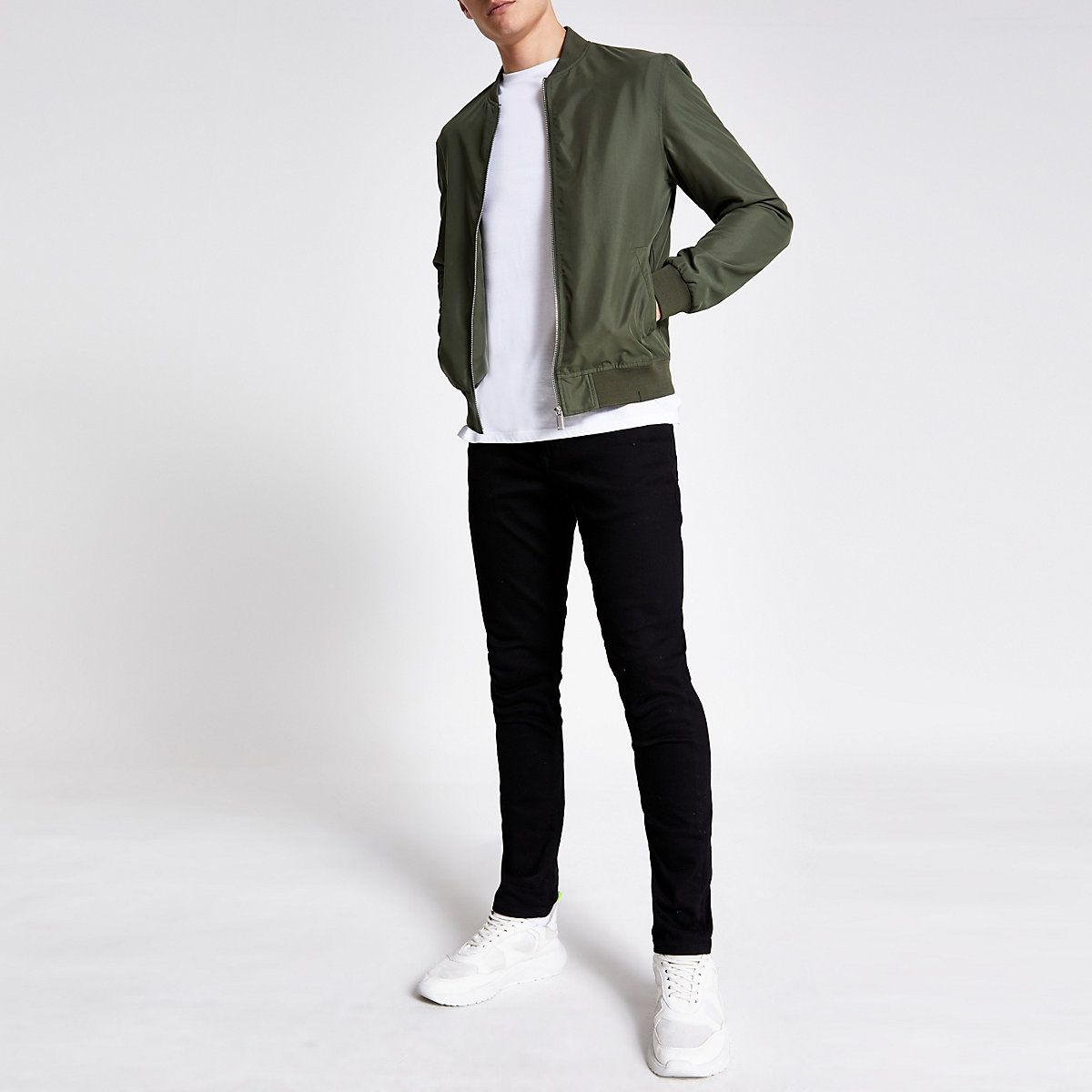 River Island Khaki green bomber jacket