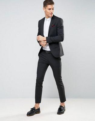 River Island Skinny Suit In Black