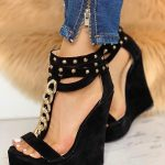 Rivet Chain Embellished Back Zipper Wedge Sandals