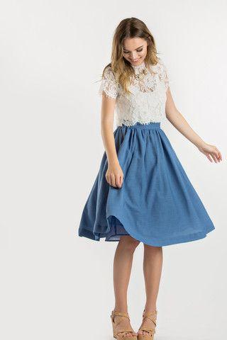 Robin Blue Flared Midi Skirt