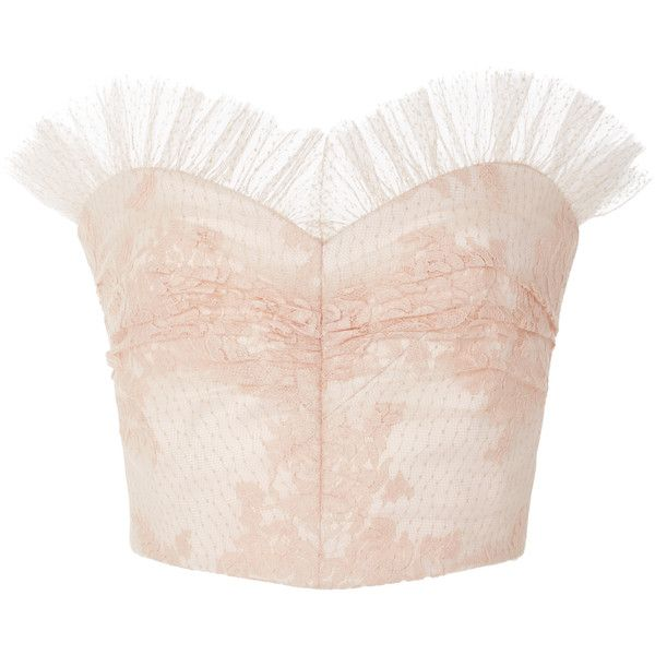 Rodarte Ruffled Lace Bustier Top ($1,840) ❤ liked on Polyvore featuring tops, …