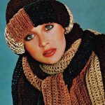 Roll Brim Hat and Skinny Scarves Digital Download Vintage Crochet Pattern