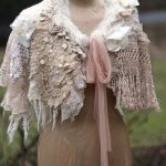 Romance- bohemian shabby chic cape or shrug from antique handmade laces, silk, wool knit