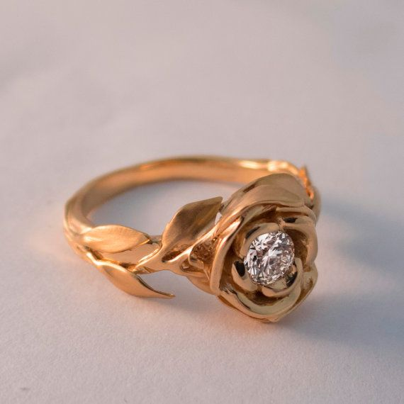 Rose Engagement Ring, Rose Gold engagement ring, leaf ring, flower ring, Beauty and the Beast Ring, art nouveau, vintage, unique, 1