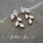Rose Gold Vintage Style Bridal Earrings Leaf Earrings Rose Gold Gold or Silver W...