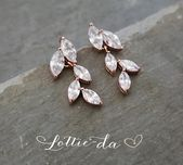 Rose Gold Vintage Style Bridal Earrings Leaf Earrings Rose Gold Gold or Silver W…