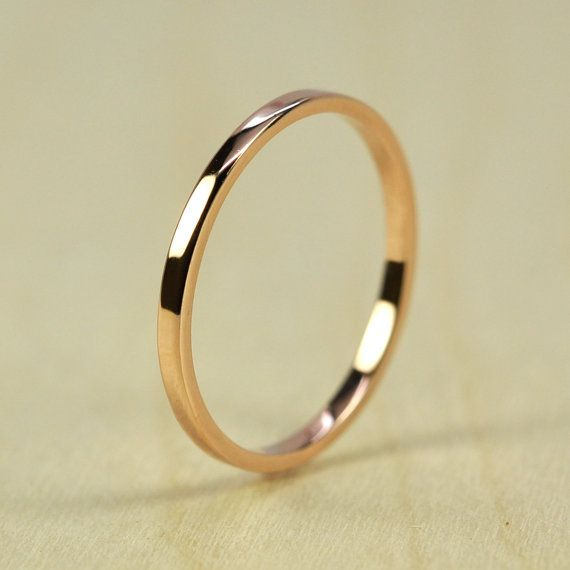 Rose Gold Wedding Band, Skinny Stacking Ring 1.5mm by 1mm Squared Edge, Recycled Eco Friendly, 14K Gold, Rutledge Jewelers