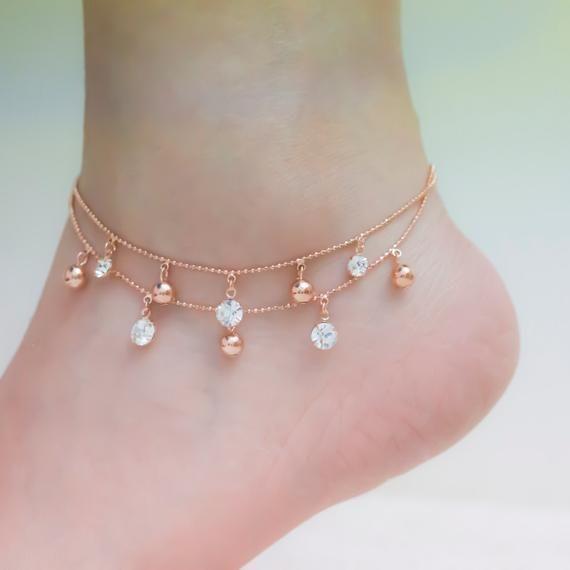 Rose gold ankle bracelets, rose gold anklet, ankle bracelet, rose gold ankle bracelet, delicate anklet, star anklet, layered ankle bracelets
