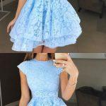 Round Neck Cap Sleeves Short Lace Prom Dresses, Round Neck Short Cap Sleeves Lace Formal Homecoming Graduation Dresses