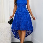 Round Neck Sleeveless Royal Blue High Low Lace Dress | modlily.com - USD $31.86