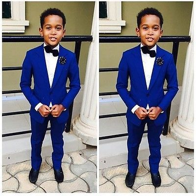 Royal Blue Kid's Wedding Groom Tuxedos Flower Boys Children Party Suits Bespoke