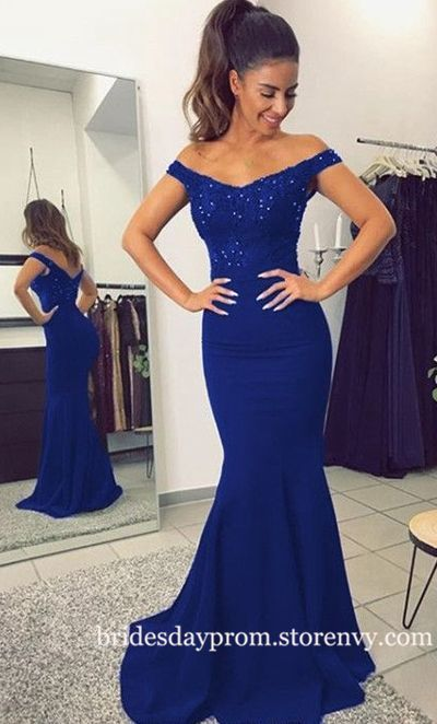 Royal Blue Prom Dress,Off the Shoulder Prom Dresses,Lace Applique Mermaid Back Open Formal Dresses