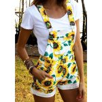 S-XXL New Summer Casual Cute Overalls Sunflower Printed Shorts Jumpsuit Rompers In White and Yellow  | Wish