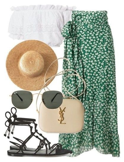SHOP THE LOOK Summer outfit | beach sandals | off the shoulder blouse | maxi ski…
