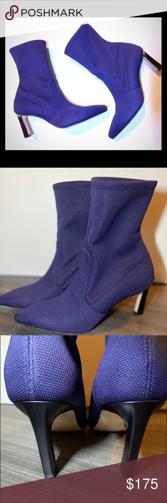 STUART WEITZMAN Blue ankle boots NWOT STUART WEITZMAN RAPTURE Blue Knit Stretch …