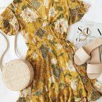 Saffron Bloom Mustard Yellow Floral Print Wrap Dress