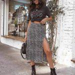 Saika Midi Skirt in Rar Leopard Brown by Motel