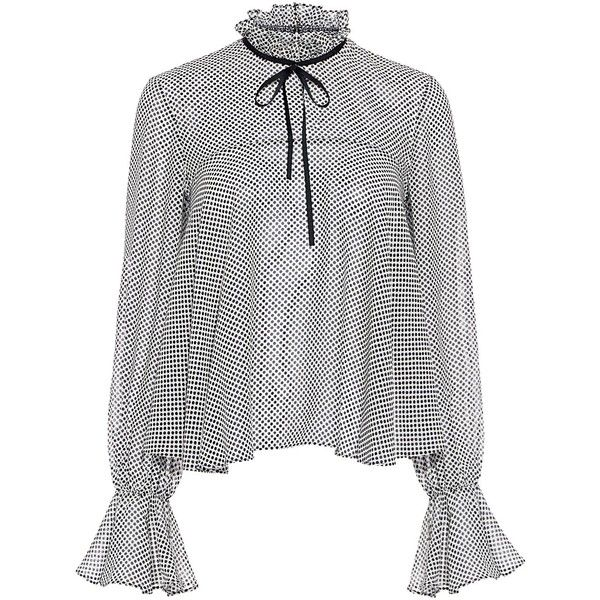 Saloni – Tyler Polka-Dot Ruffle Blouse (14.395 RUB) ❤ liked on Polyvore featur…