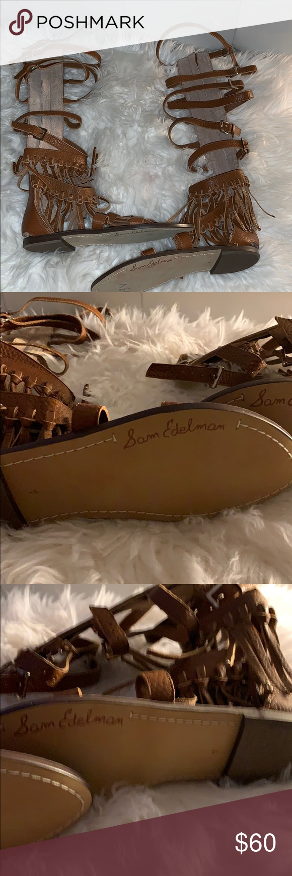 Sam Edelman Gladiator Shoes Never worn So cute  No box  100% Leather Imported Sy…