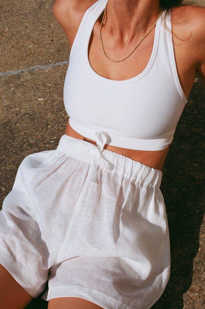 Samantha White Linen Drawstring Shorts – XS / White